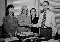 [Takagi family in office of Katsuma Mukaeda, California, July 17, 1951]