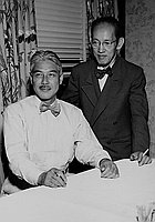 [Shinichi Kudo at Los Angeles International Airport and at party a San Kwo Low restaurant, Los Angeles, California, August 15, 1951]