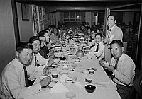 [First post-war general meeting of the Little Tokyo Business Association at Kawafuku restaurant, Los Angeles, California, 1952]