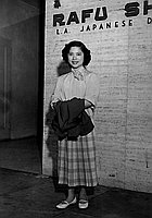 [Singer Chiemi Eri in front of Rafu Shimpo building, Los Angeles, California, March 23, 1953]
