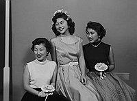 [Stella Nakadata and two women, three-quarter portrait, Los Angeles, California, March 28, 1953]