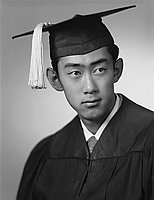 [Glenn Nakadate in graduation cap and gown, head and shoulder portrait, Los Angeles, California, June 1, 1953]