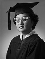 [Jean Aoki in graduation cap and gown, head and shoulder portrait, Los Angeles, California, June 10, 1953]