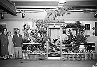 [Nishi Japanese garden exhibit at the annual International Flower Show at Hollywood Park, Inglewood, California, March 14, 1954]