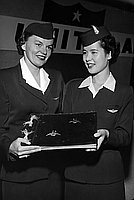 [Two Japanese Airline stewardesses, Califonria, April 21, 1954]