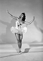 "[Stella Nakadate, ballet dancer for West Coast Dance Studio ""Fine and dandy"" program at Roosevelt High School, Los Angeles, California, June 10, 1954]"