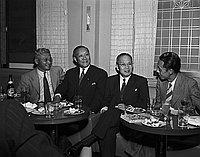 [Shochiku representatives from Japan at Kawafuku restaurant, Los Angeles, California, November 23, 1954]