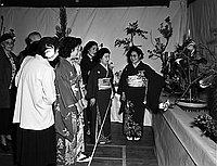 [Ikenobo Rafu Tachibana Kai ikebana exhibition in the Union Church basement, Little Tokyo, Los Angeles, California, March 26, 1950]