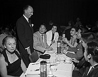 [JACL officials and members of Gene Parker's Nisei Dance Club at Moulin Rouge, December 16, 1954]