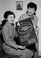 [Miwako Yanamoto and Lily Otera promoting JACL 4th annual installation dance, Los Angeles, California, January 16, 1955]
