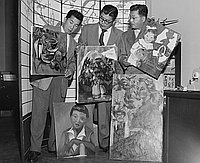 [Artist Sueo Serisawa showing paintings to Glen Seno of Japan Airlines, Los Angeles, California, March 5, 1955]