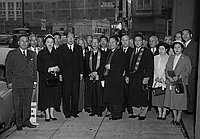 [Monshu Koshin Otani and Ouragata-sama in Little Tokyo, Los Angeles, California, April 12, 1955]