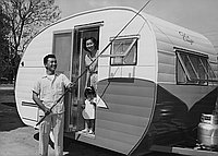 [James Higashida, second place winner of San Diego Yellowtail Derby, with recreation trailer home, Van Nuys California, May 19, 1955]