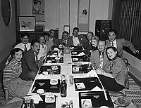 [Party at Kawafuku restaurant for movie industry people, Los Angeles, California, April 15, 1950]
