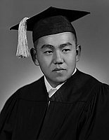 [Stephan Kobayashi in cap and gown, head and shoulder portrait, Los Angeles, California, June 3, 1955]