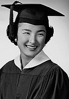 [Joyce Takeuchi in cap and gown, head and shoulder portrait, Los Angeles, California, June 4, 1955]