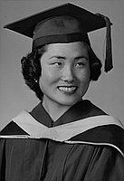 [Betty Fukuda in cap and gown, head and shoulder portrait, Los Angeles, California, June 6, 1955]