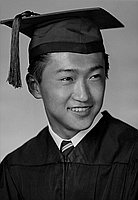 [Robert Hideo Takeuchi in cap and gown, head and shoulder portrait, Los Angeles, California, June 6, 1955]