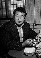 [Rikidozan at Kawafuku restaurant, Los Angeles, California, June 8, 1955]