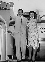 [Mr. and Miss Hamaguchi arriving at Los Angeles International Airport, Los Angeles, California, July 24, 1955]