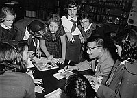[Taro Yashima book signing for children at a book fair at the Los Angeles Public Library, Los Angeles, California, November 14, 1955]