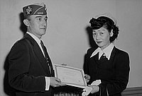 [Southwest Chapter Japanese American Citizens' League and Veterans of Foreign Wars presentation of certificates to new citizens, California, November 21, 1955]