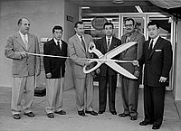 [Ribbon cutting ceremony for supermarket at Town and Country Shopping Center, Gardena, California, January 17, 1956]