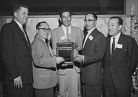 [Pacific Southwest District Chapter of the Year award presentation at Japanese American Citizens' League dinner at Hotel Green, Pasadena, California, February 12, 1956]