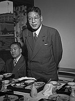 [Hayato Ikeda's arrival at Los Angeles International Airport (LAX) and at restaurant, Los Angeles, California, May 17, 1950]