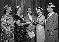[Installation of Mrs. Ken Kozasa as Muir Junior High School PTA president, Los Angeles, California, May 22, 1956]