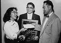 [Japanese American Optimist Club of Los Angeles award presentation at Roosevelt High School, Los Angeles, California, June 9, 1956]