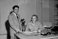 [Vice-principal Paul Yokota and principal Bertha Reuland of Eastman Street School, Los Angeles, California, November 17, 1956]