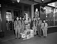 [Boy Scout Troop #379 donation to downtown JACL Christmas Cheer program, Los Angeles, California, December 15, 1956]