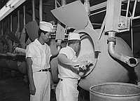 [John Watanabe supervising vitamin coating at Boyle & Company, Los Angeles, California, December 10, 1956]