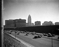 [Los Angeles City Hall and Hollywood freeway, Los Angeles, California, December 1956]