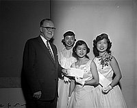 [Three young women receiving Bank of America award, 1956]