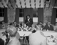 [Long Beach Community Center -- oldest Issei chapter president -- Mayor Vermillion, 1956]