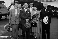 [Sawada, Mr. Yoshino, Mrs. Yanagida at airport, California, 1956?]