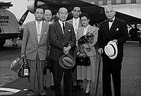 [Sawada, Mr. Yoshino, Mrs. Yanagida at airport, California, 1956?]