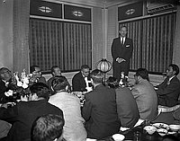 [American President Line at Kawafuku restaurant, Los Angeles, California, January 22, 1957]