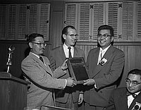 [Japanese American Citizens' League chapter of the year award presentation at Thistle Inn, Los Angeles, California, February 10, 1957]