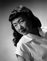 [Haru Yoshimoto, West Los Angeles Japanese American Citizens' League representative for the Pacific SouthWest District Council convention queen competition, head and shoulder portrait, Los Angeles, California, June 27, 1950]