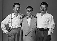"[""Three Came Back"" movie : Teiho Hashida, Frank Kumagai and Kirishima, Los Angeles, California, June 30, 1950]"