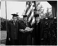 [Haruo Oguro, Takeichi Goto, Toshi Kubota at California Institute of Technology commencement ceremonies, Pasadena, California, June 7, 1957]