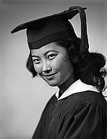 [Jean Tatsuye Matsuno in cap and gown, head and shoulder portrait, Los Angeles, California, June 10, 1957]