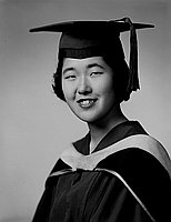 [Yoshiko Nakahiro in cap, gown and hood, head and shoulder portrait, Los Angeles, California, June 11, 1957]