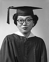 [Doris Yokoyama in cap and gown, half-portrait, Los Angeles, California, June 11, 1957]