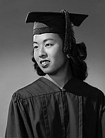 [Irene Wakamatsu in cap and gown, half-portrait, Los Angeles, California, June 12, 1957]