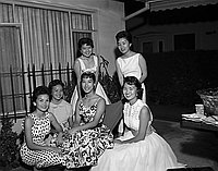 [Queen and attendants at Herb Murayama's house, California, June 17, 1957]
