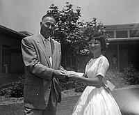 [Pacoima Junior High School student, Zen Takahashi, receiving American Legion award, Pacoima, California, June 20, 1957]